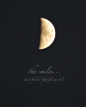 Half Moon, She Smiles, moon photo quote, 4 x 6, quotation, photo quote ...