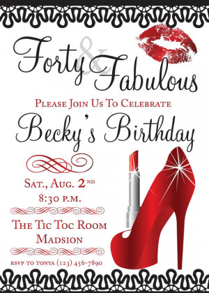 Forty & Fabulous Birthday Invitation and Envelope Seal