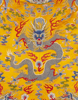 from ancient Chinese emperor's clothes. The dragon means the Chinese ...