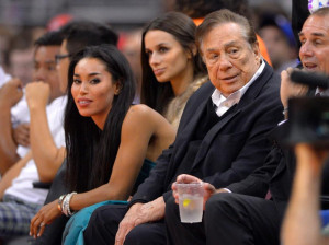 Stiviano (left) with Donald Sterling courtside at a Los Angeles ...