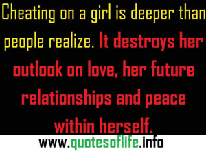 ... her outlook on love, her future relationships and peace within herself