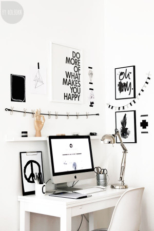 home office creative space black and white prints quotes peace desk ...