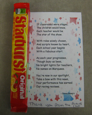 ... . We just left a starburst attached to a poem in everyone's boxes