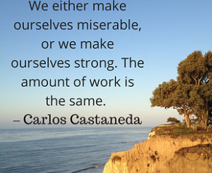 ... ourselves strong. The amount of work is the same. - Carlos Castaneda