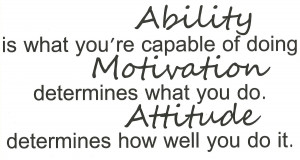 ... doing. Motivation determines what you do. Attitude determines how well