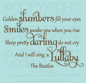 The Beatles Quote Vinyl Wall Decal Lettering GOLDEN SLUMBERS Nursery ...