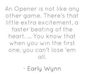 Pitcher Early Wynn on Opening Day.