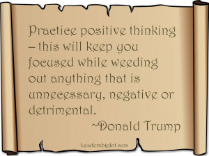 Donald Trump quote on positive thinking