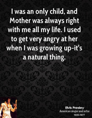 Mother was always right with me all my life. I used to get very angry ...