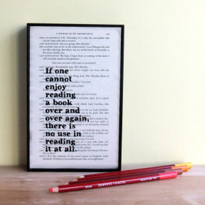 Oscar Wilde Book Lover's Inspirational Quote Framed Altered Book Art