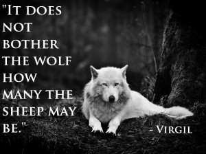 "It does not bother the wolf how many the sheep may be."" – Virgil ..."