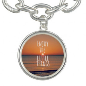 Enjoy the Little Things Sunset Quote Charm Bracelet #jewelry # ...