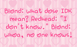 Blond: What dose IDK mean? Redhead: