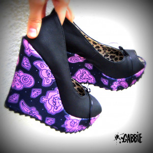 Girl Platform Vegan Wedges Shoes Spikes Black Bows, Tattoo, Feminist ...