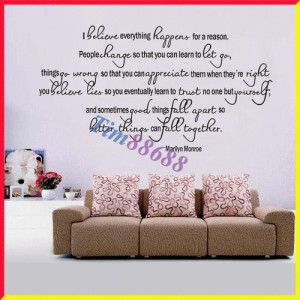 MARILYN MONROE I Believe Everything Happens Quote Vinyl Wall Decal ...