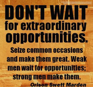 Don't Wait For Extraordinary Opportunities