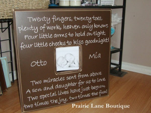 20x20 Custom Picture Frame with Twins Quote Personalized Nursery Decor ...