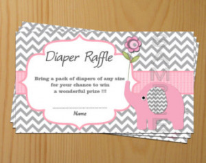 Elephant Baby Shower Diaper Raffle Ticket Card Diapers