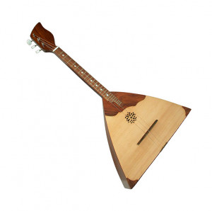 fretted stringed instrument with a triangular body and three strings ...