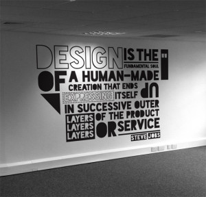 Office wall mural typography