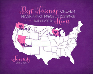 Birthday Gift Long Distance Best Friends Quote - 8x10 Custom Map Art ...