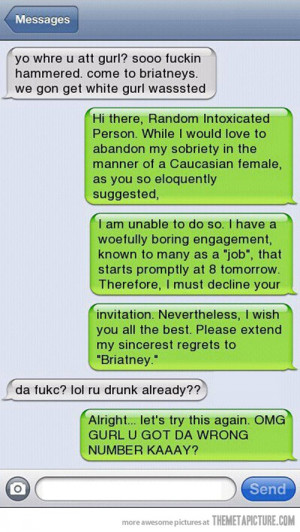 Funny photos funny text message drunk girl