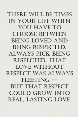 love without respect is no love at all
