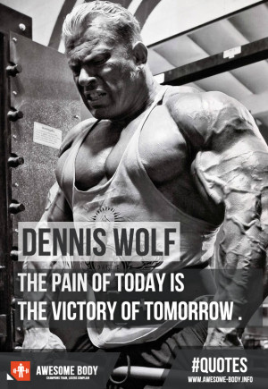 Dennis Wolf Quotes | The pain of today is victory of tomorrow