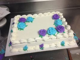 Blue And Purple Roses Sheet Cake By Crosseyed Cupcake