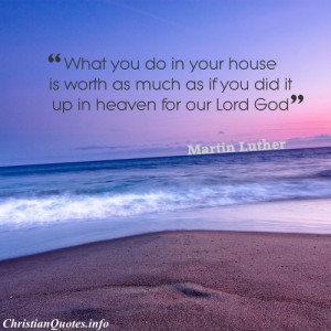 Martin Luther Christian Quote - Your House - beach and sunset
