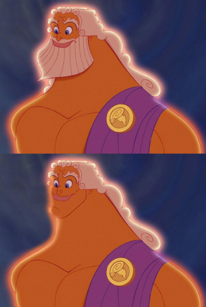 Hercules' Zeus looks 20 years younger. Hell of a jaw line.