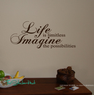 ... Life is Limitless Wall Art Sayings Quotes Graphic Stickers Decals 694