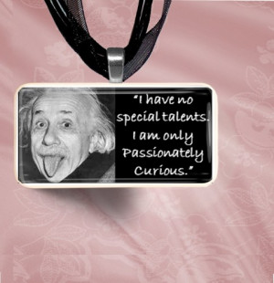 Albert Einstein Quote Domino Pendant Necklace