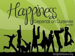 Happiness depends on ourselves. Aristotle Quote Wallpaper
