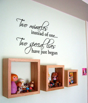 Two Miracles instead of one... Twins baby room decor Vinyl Wall Quote ...