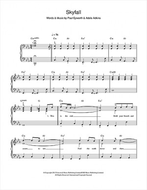Skyfall Easy Piano Sheet Music Onlinesheetmusic
