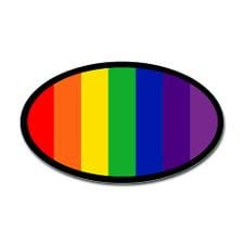 RAINBOW FLAG Oval Sticker for