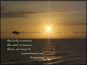 Key to happiness quotes - The body in motion, the mind at peace, these ...