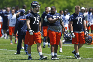 Chicago Bears Kyle Long (from left), James Dunbar and Cody Booth at ...
