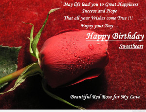 Red rose wallpaper Happy birthday my dear quote