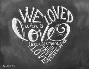 Decor - Love Quote - 11x14 Print - Chalkboard Art - Edgar Allan Poe ...