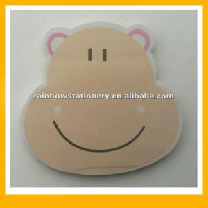 Funny animal face sticky note pads hippo cat horse monkey lion