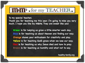 Preschool Teacher Appreciation Poems Christian m&ms teacher poem