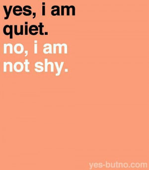 Yes, I am quiet. No, I am not shy.