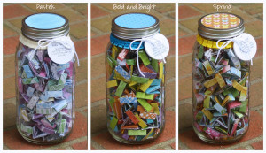 Large Joliday Jars shown here in Pastel colors, Bold and Bright colors ...
