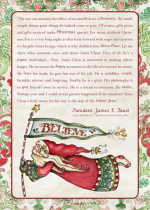 BELIEVE: James E. Faust on Santa Claus