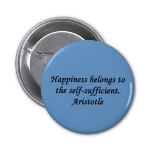 Aristotle Happiness Quote Button Pin