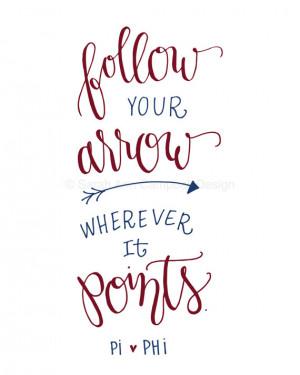 Follow Your Arrow: Sorority Quote Print, PI PHI