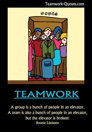 Fun teamwork poster - team stuck in broken elevator