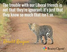 The trouble with our Liberal friends is not that they're ignorant; it ...